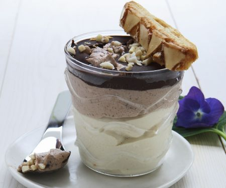 Semi-frozen Chocolate and Vanilla Dessert