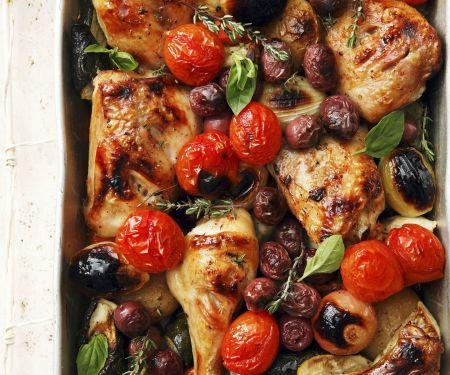 Sheet Pan Chicken and Tomato Bake