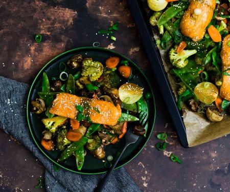 Sheet Pan Teriyaki Salmon with Sesame Vegetables
