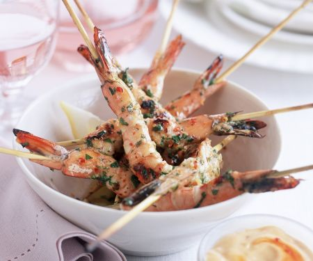 Shrimp Skewers with Spicy Dip