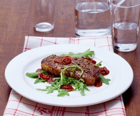 Sirloin Steaks with Arugula and Balsamic Vinegar Sauce