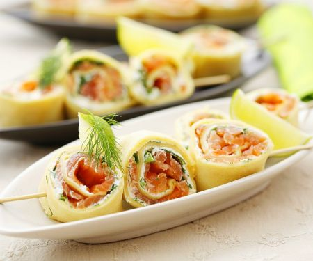 Skewers of Pancakes with Salmon-Dill Cream