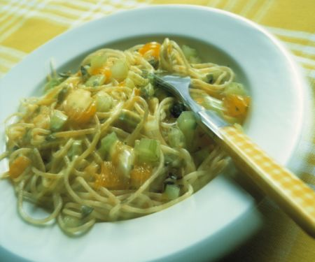 Spaghetti with Gorgonzola and Mandarin Cream