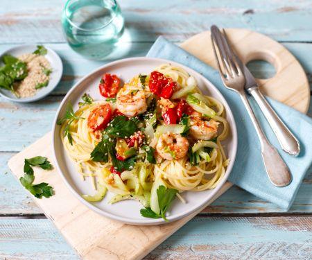 Spaghetti with Prawns and Bok Choy