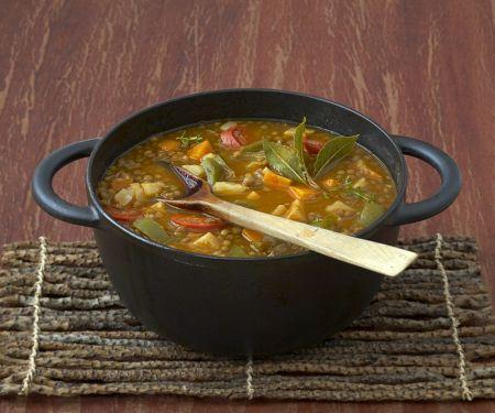 Spanish Sausage, Vegetable and Lentil Stew