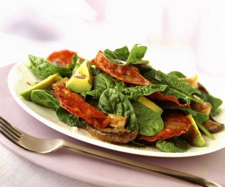 Spinach Avocado Salad with Salami