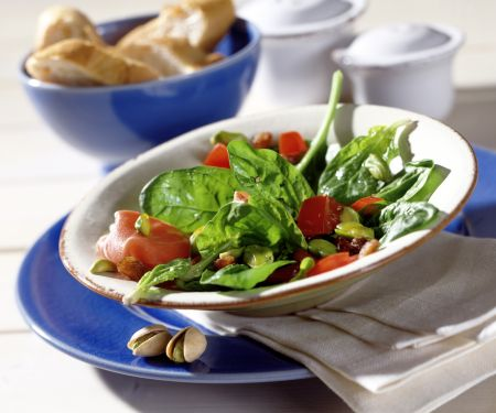 Spinach Salad with Pistachios and Shallot Vinaigrette