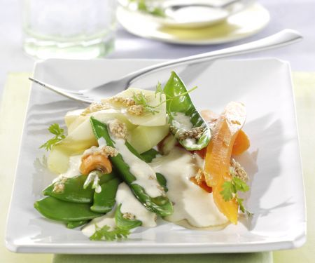 Spring Vegetables with Chilled Lime-yogurt