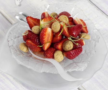 Strawberries with Amaretto Cookies and Lime Syrup