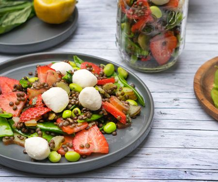 Strawberry Lentil Salad with Rhubarb and Edamame