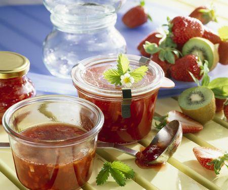 Strawberry-Rhubarb Jam with Kiwi
