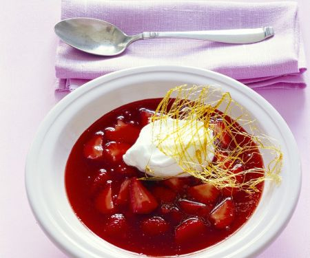 Strawberry Soup with Soft Meringues