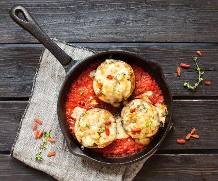 Stuffed Mushrooms on Tomato Sauce