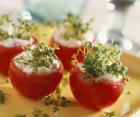Stuffed Tomatoes with Cream Cheese and Garden Cress