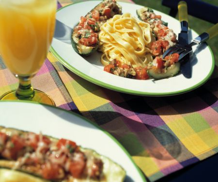 Stuffed Zucchini with Tomato and Sunflower Seeds