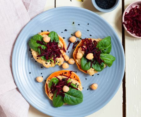 Sweet Potato Toast with Hummus and Beets