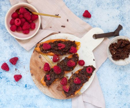 Sweet Potato Toast with Plum-Cocoa Spread and Berries