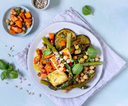 Sweet Potatoes with Asparagus, Eggplant and Halloumi