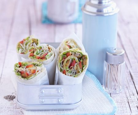 Tempeh and Sprouts Wraps with Pea Purée