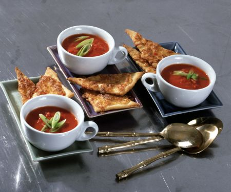 Tomato Ginger Soup with Spicy Cheese Crisps