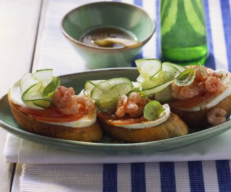 Tomato, Mozzarella and Shrimp on Toast
