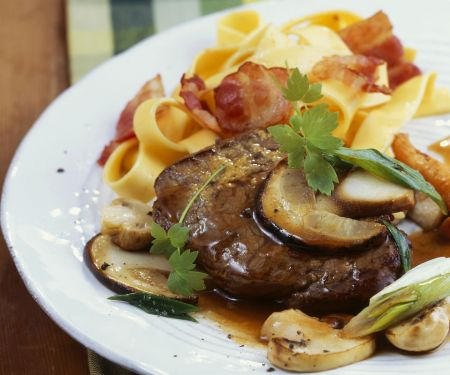 Top Round with Tagliatelle and Mushrooms