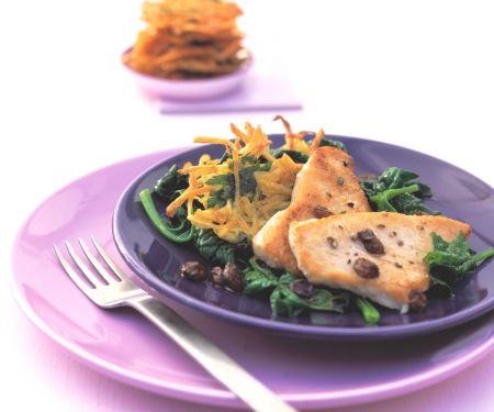 Turkey Cutlets with Potato Rösti and Spinach