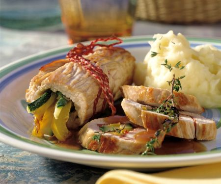 Turkey Rolls Stuffed with Ham and Vegetables
