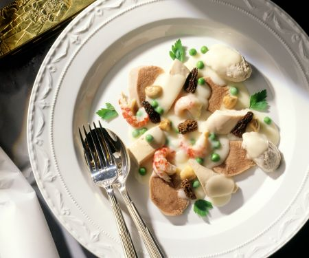 Veal Tongue, Chicken and Crayfish Fricassee with Pike Dumplings