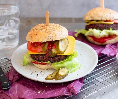 Vegan Cheeseburger with Black Bean Patty