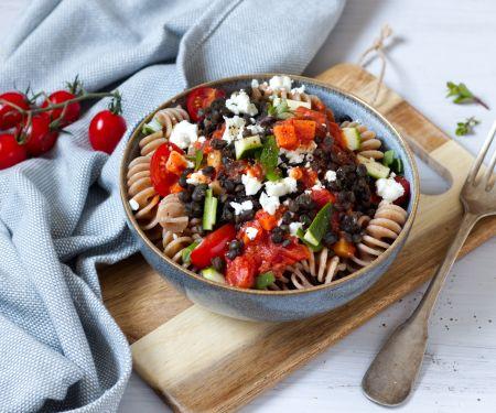 Veggie Rotini with Tomato Sauce, Lentils and Feta