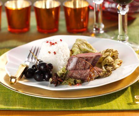 Venison Fillet with Balsamic Vinegar-glazed Cabbage