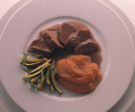 Venison Fillet with Quince Puree and Cognac Sauce