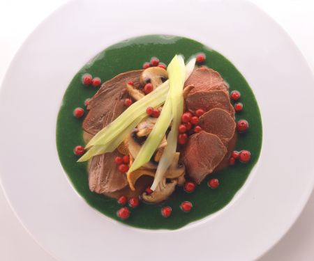 Venison with Mushrooms and Spinach and Leek Sauce