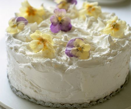 White Cake with Candied Flowers