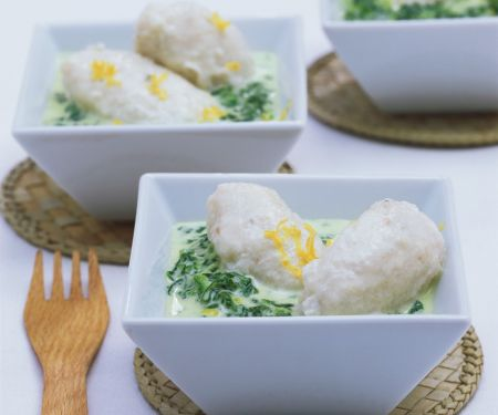 White Fish Dumplings in Wine and Spinach Sauce
