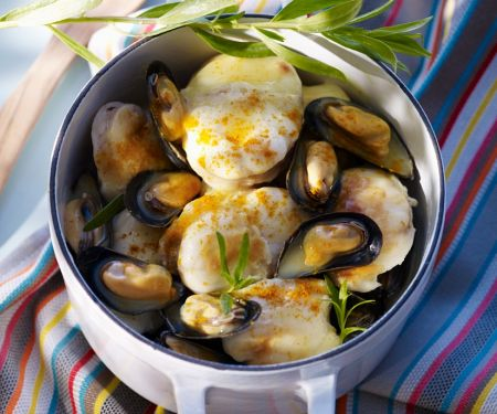White Wine Steamed Mussels and Monkfish