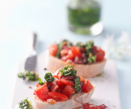 Wild Garlic Pesto and Tomato Bruschetta