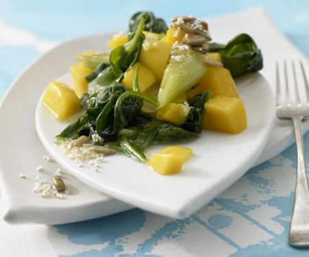 Wilted Spinach and Mango Salad