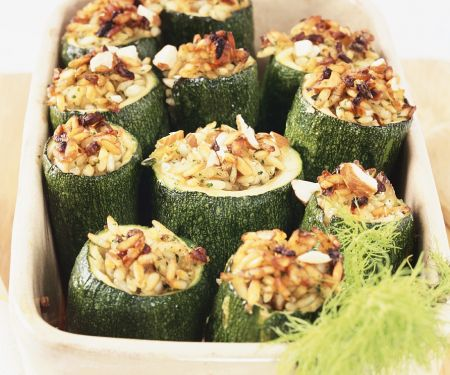 Zucchini Stuffed with Fennel and Rice