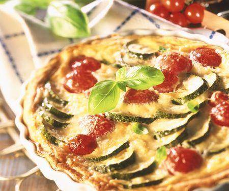 Zucchini, Tomato and Gouda Quiche