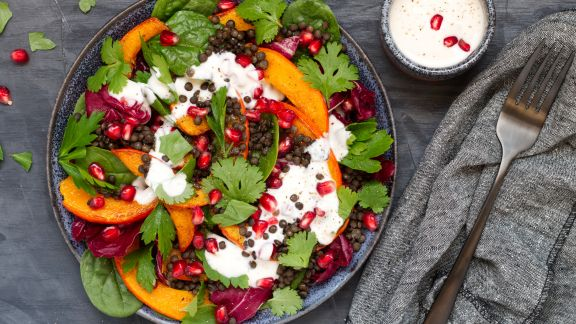 Pumpkin and lentil salad with yoghurt dressing