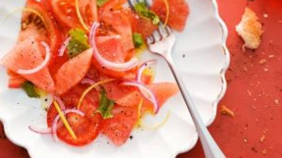 tomato and melon salad with grapefruit and cilantro