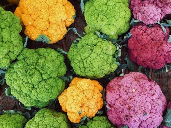 Cauliflower comes in a variety of vibrant colors.
