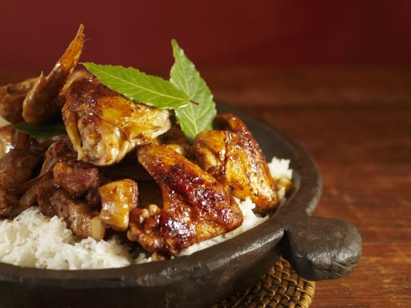 Adobo Chicken and Pork with Rice (Philippine National Dish)