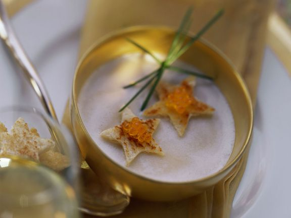 Airy Potato Soup with Trout Roe Toasts and Chives