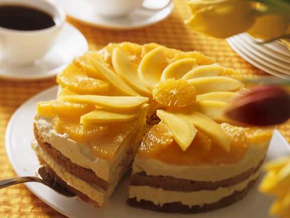 Almond Cake with Mango Mousse