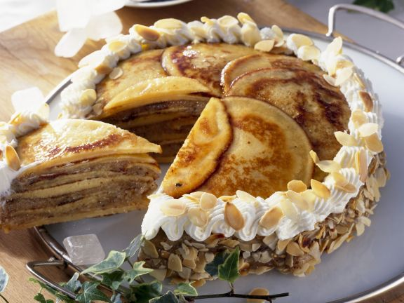 Layered Crepe Gateau with Nuts