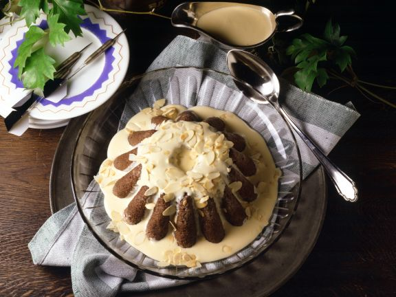 Almond Pudding with Brandy Sauce