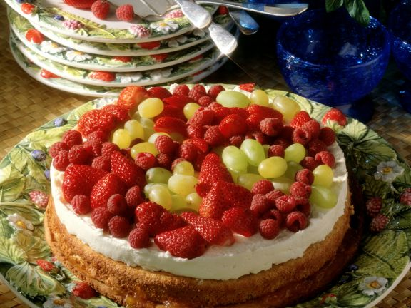 Almond Sponge Cake with Quark Mousse and Fresh Fruit